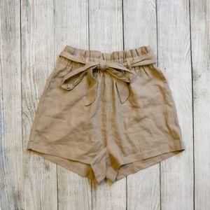 NWT Heart & Hips Brown Paper Bag Tie Waist Shorts
